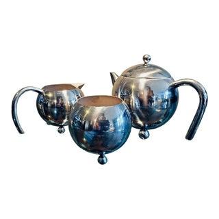 Vintage Post Modern Italian Streamline Memphis Deco Design Chrome Tea Set - 3 Pc Set For Sale
