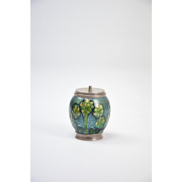 20th century vintage lidded pot or bow handcrafted with hand-painted detailed flowers in hues of blue, green and yellow....
