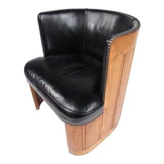 Mid-Century Oak Barrel Back Club Chair For Sale