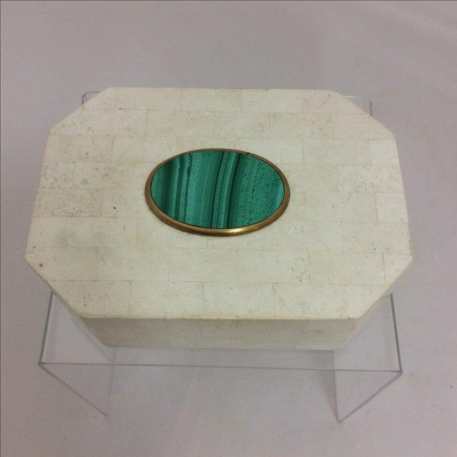 Maitland Smith Tessellated Marble & Malachite Box - Image 3 of 11