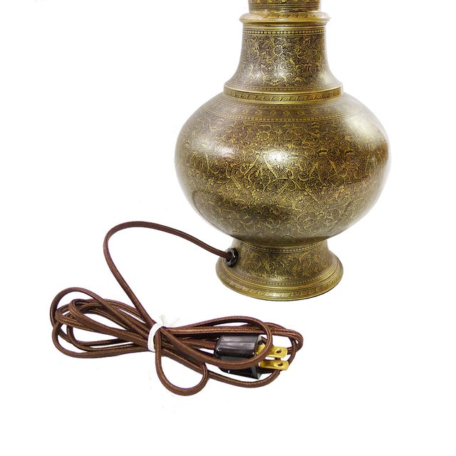 Vintage Indian Hand Painted Brass Lamps - A Pair - Image 4 of 5