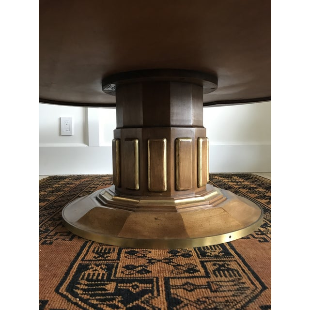 Mid 20th Century 1950s Hollywood Regency John Widdicomb Fruitwood Pedestal Coffee Table For Sale - Image 5 of 11