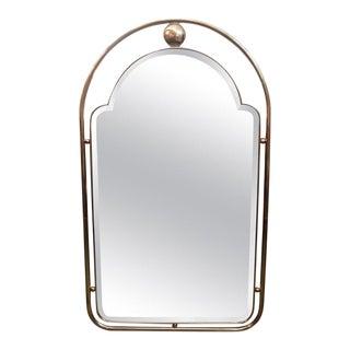 Italian Gio Ponti Style Brass Beveled Mirror For Sale