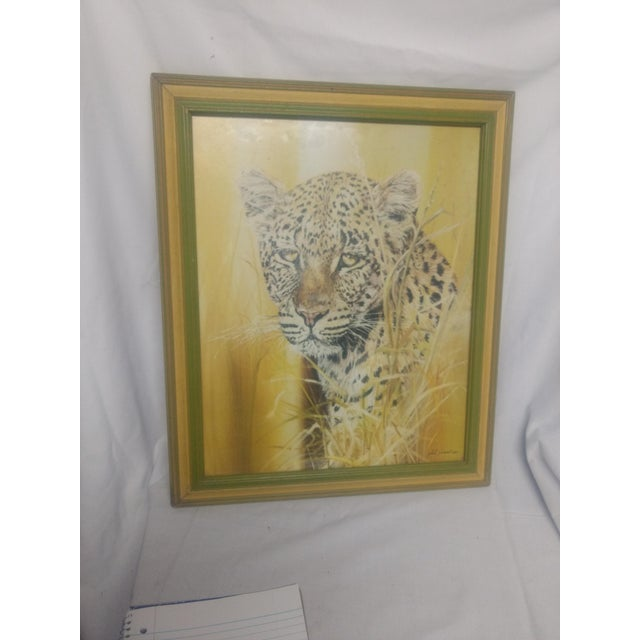 Phil Prentice Leopard Painting in Gold Frame For Sale - Image 4 of 4