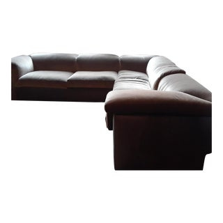 L-Shaped Leather and Velvet Couch For Sale