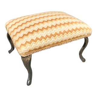 19th Century Petite Flame Stitch Needlepoint Foot Stool For Sale