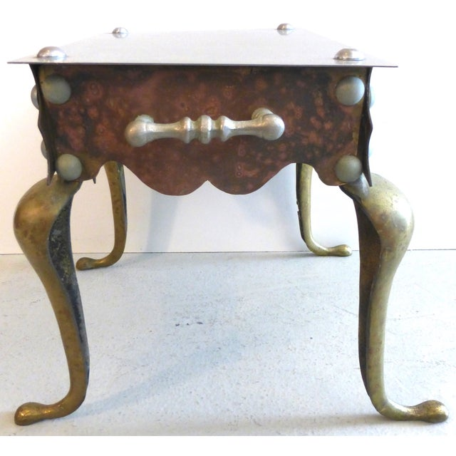 Mastercraft Brass, Iron & Steel Side Table For Sale - Image 4 of 6