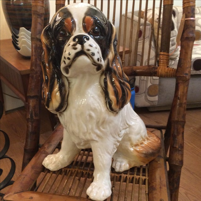 Large ceramic King cavalier spaniel statue purchased from an estate sale in California. In excellent vintage condition