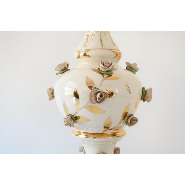 Antique Victorian Table Lamp with Rose Motif For Sale - Image 4 of 6