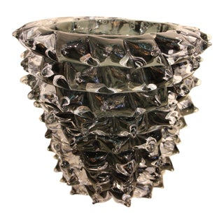 Black Vase in Murano Glass With Spikes Decor, Barovier Style, Rostrato For Sale