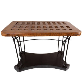 Ship's Teak Decking Table on Iron Base For Sale