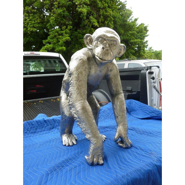 1970s Modern Life Size Nickel Plated Bronze Chimpanzee Statue For Sale - Image 13 of 13
