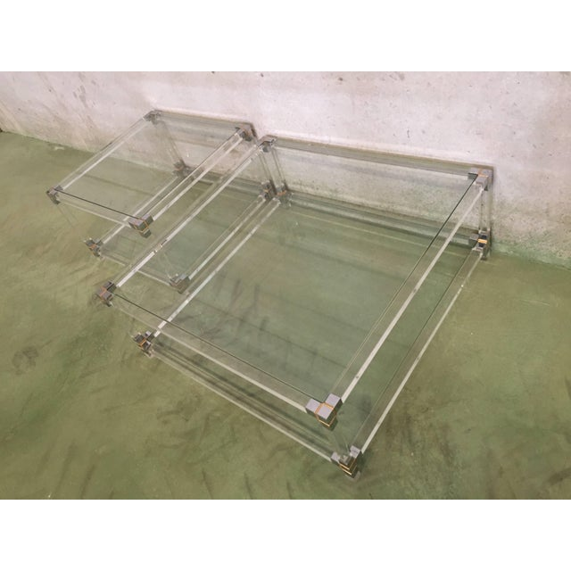 Mid-Century Modern Midcentury Square Lucite Coffee Table With Chromed Metal Details For Sale - Image 3 of 13