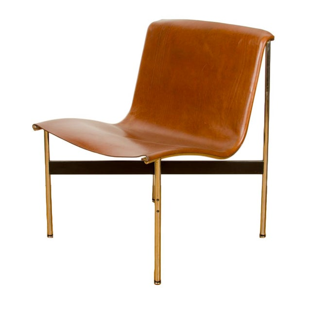 Leather Mid Century Katavolos Littell and Kelley Designed Leather Tan Chair For Sale - Image 7 of 7