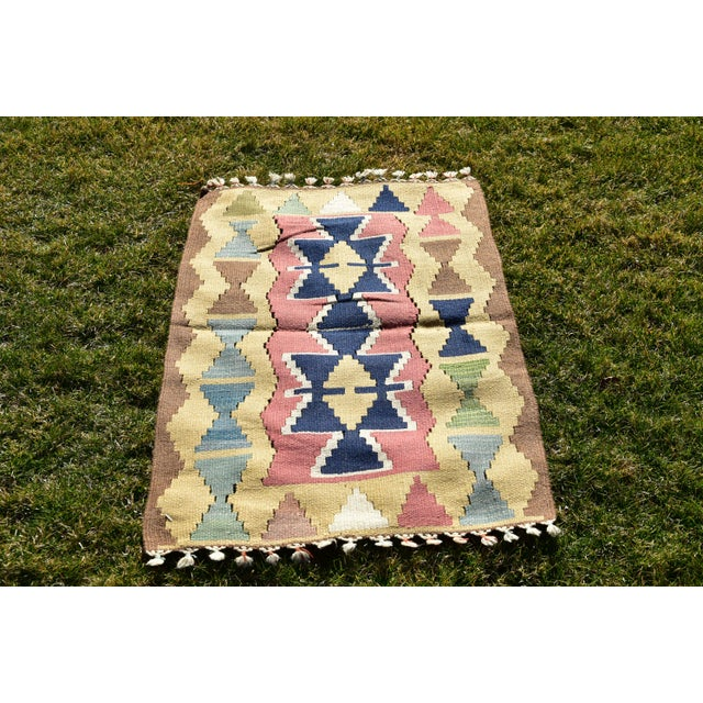 Nomadic Tribal Design Anatolian Oushak Traditional Wool Handmade Turkish Kilim Rug For Sale - Image 10 of 10