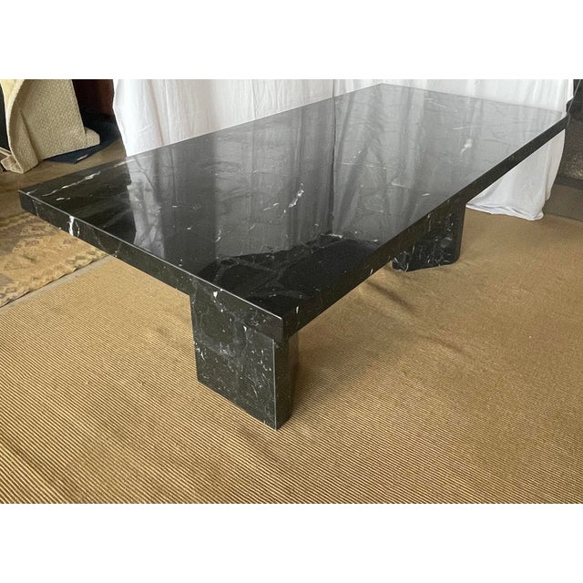 1980s Nero Marquina Black Marble Dining Table For Sale - Image 4 of 13