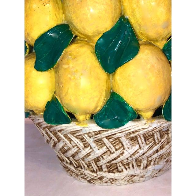 "Ceramic Italian Ceramic Giant Lemon Topiary in Basket, Centerpiece, 28"" High For Sale - Image 7 of 12"