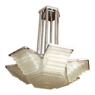 Large Art Deco Chandelier by Sabino For Sale