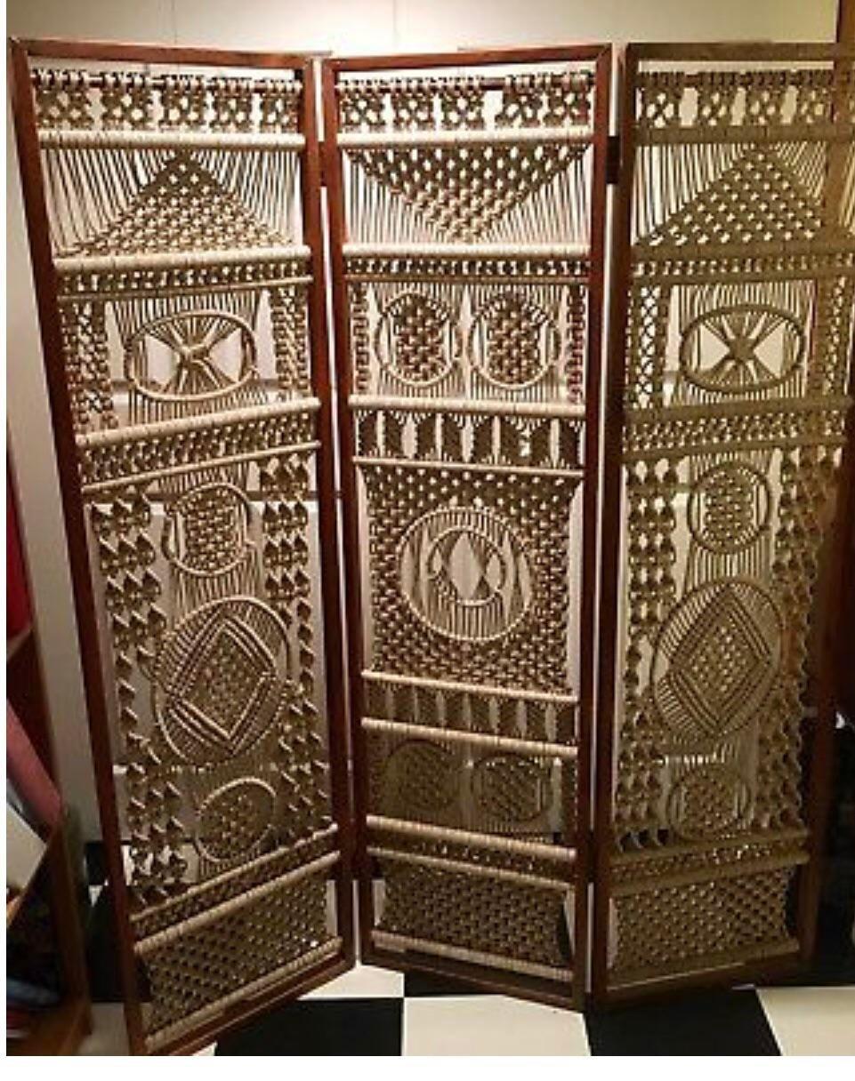 Vintage Macrame and Wooden Handmade Room Divider Chairish