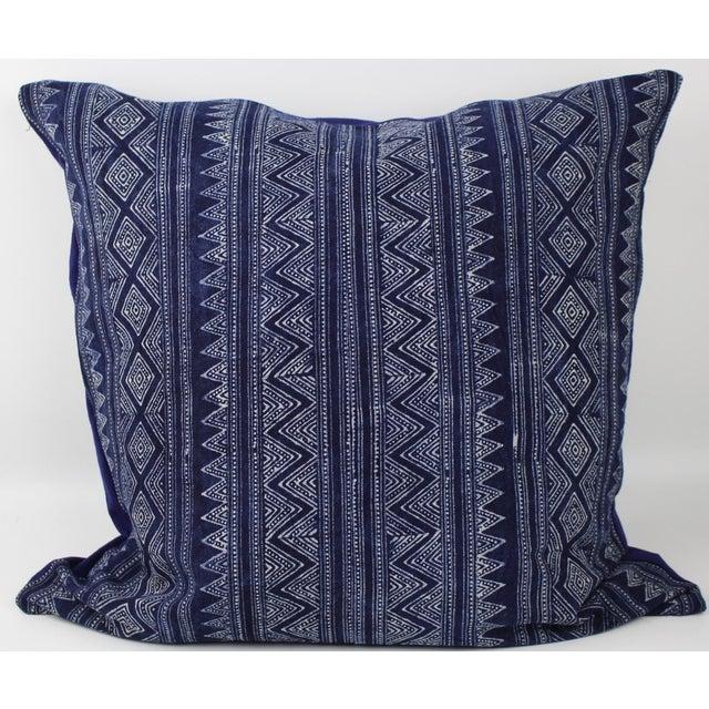 Hmong Zigzag Indigo Batik Handmade Pillow Cover - Image 6 of 6