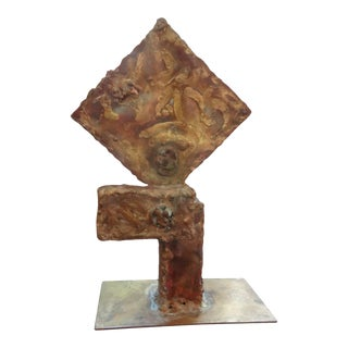 Vintage Mid Century Brutalist Torch Cut Mixed Metal Abstract Sculpture For Sale