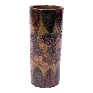 Vintage Japanese Otagiri Incised Vase by Omc For Sale