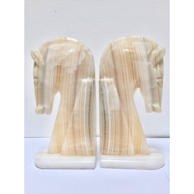 Mid 20th Century Pair of Art Deco Onyx Horses Heads Bookends For Sale - Image 5 of 10