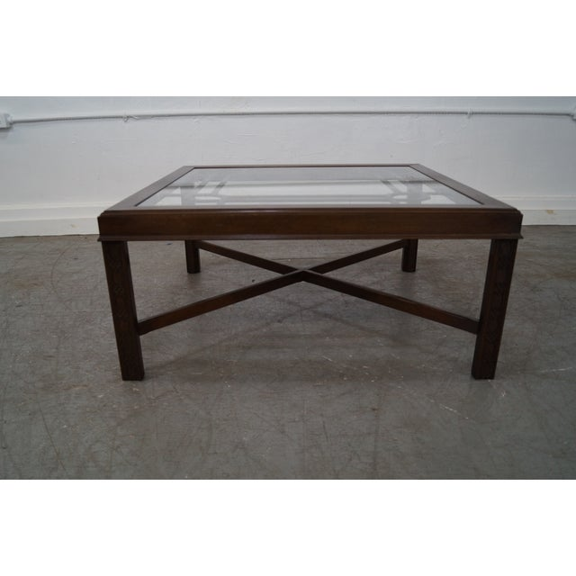 Chippendale Style Cherry Glass Top Coffee Table - Image 6 of 10