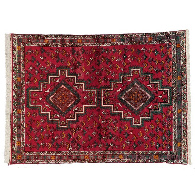"Vintage Persian Shiraz Rug- 4'5""x6'0"" - Image 1 of 3"