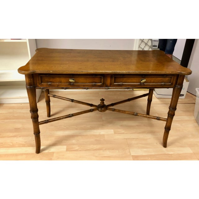 Hollywood Regency 20th Century Regency-Style Faux Bamboo Writing Desk For Sale - Image 3 of 3