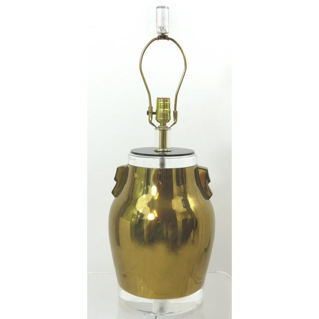 Vintage Brass & Lucite Urn Lamps - A Pair - Image 8 of 10