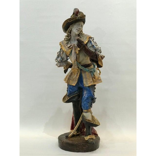 Monumental Early 20th Century Professor E. Pattarino Italian Polychrome and Gilt Terracotta Majolica Cyrano De Bergerac Statue For Sale - Image 13 of 13
