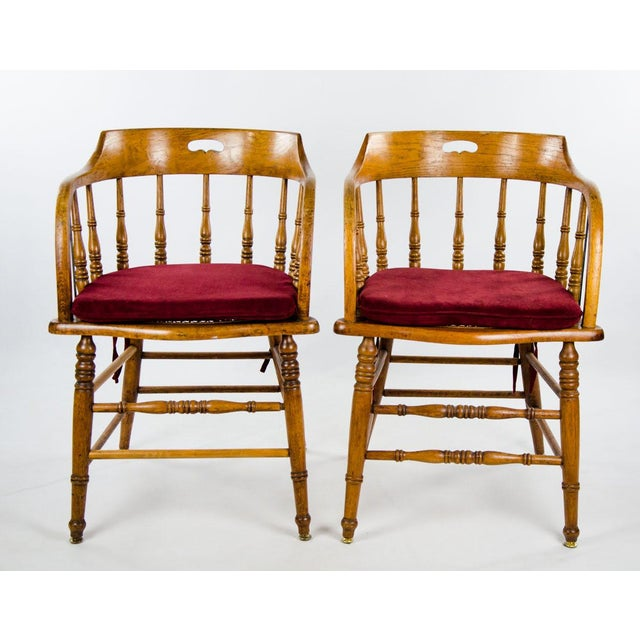 Late 19th Century American Windsor Style Barrel Back Oak and Caned Side Chairs- A Pair For Sale - Image 13 of 13