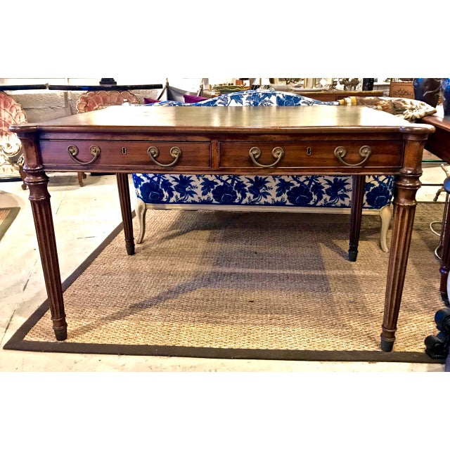 Early 19th Century 1810s English Regency Partners Writing Table For Sale - Image 5 of 13