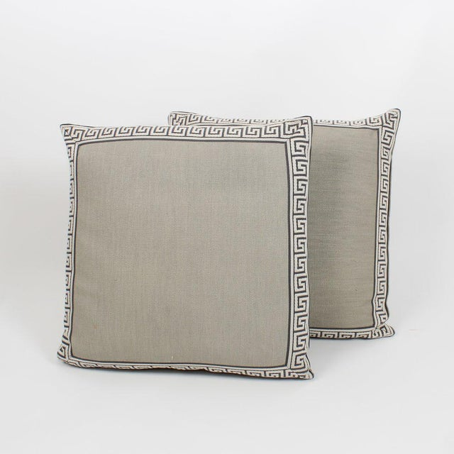 Charcoal and Slate Linen Greek Key Pillows, Pair For Sale In Atlanta - Image 6 of 6