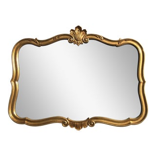 1970's Gold Leaf Cartouche Mirror For Sale