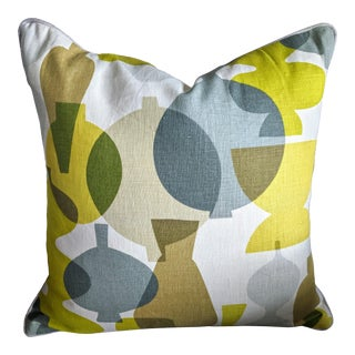 "Custom Jonathan Adler Chartreuse Velvet and Pottery Pattern Pillow 20"" For Sale"
