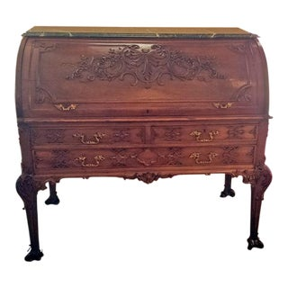19c Hampton & Sons Chinese Chippendale Cylinder Desk