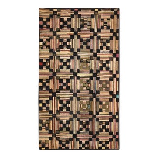"""Antique American Hooked Rug 3'0"""" X 5'5"""" For Sale"""