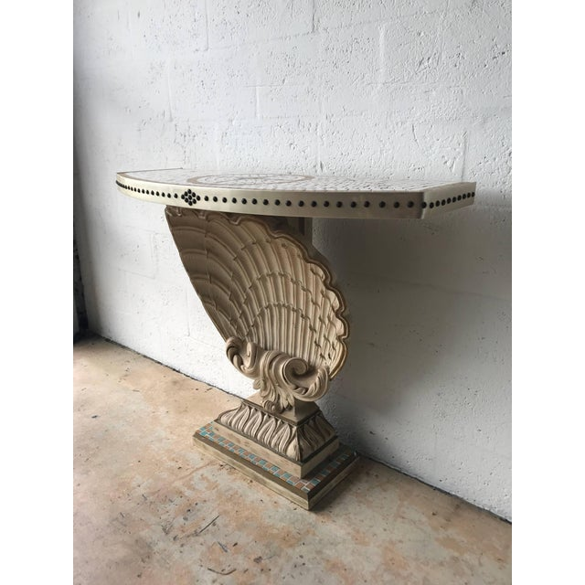Hollywood Regency Maison Jansen Shell Demi-Lune Console For Sale - Image 3 of 7