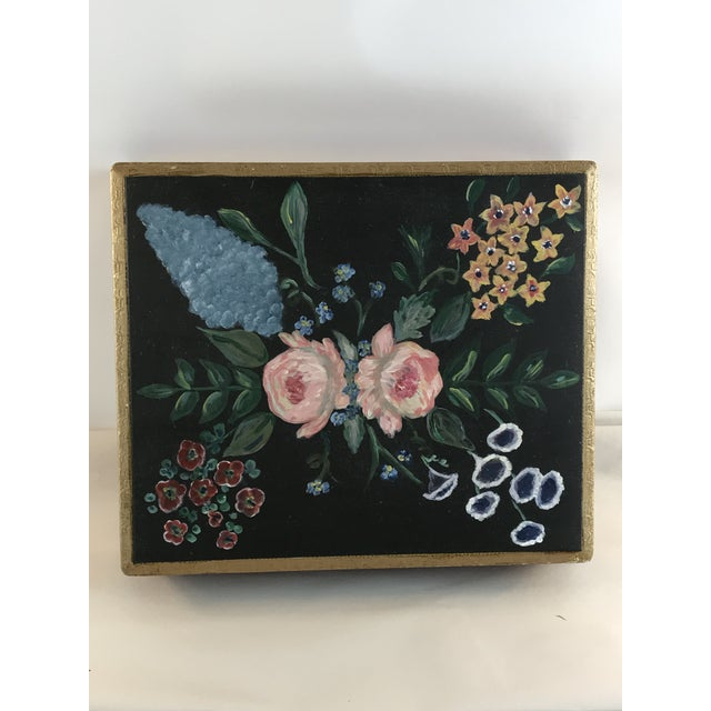 Florence Italy Hand Painted Floral Gold Leaf Box For Sale - Image 9 of 9