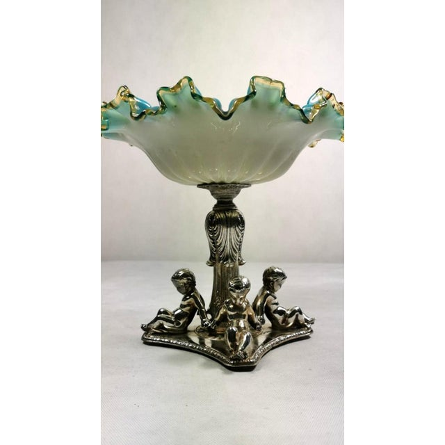 19th Century French Silver Plated Opaline Glass Bowl Centerpiece by Louis Philippe For Sale - Image 12 of 13