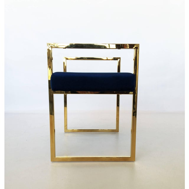 Pair of Polished Brass Benches in the Style of Charles Hollis Jones For Sale In Dallas - Image 6 of 8