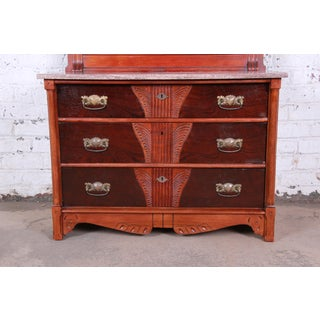 Antique Victorian Carved Walnut and Rosewood Marble Top Chest of Drawers With Mirror, Circa 1870s Preview