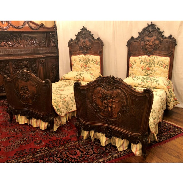 French Provincial Pair Antique French Museum Quality Walnut Beds, Circa 1860-1880. One of the Finest Examples of Wood Carver's Art of the 19th Century. For Sale - Image 3 of 9