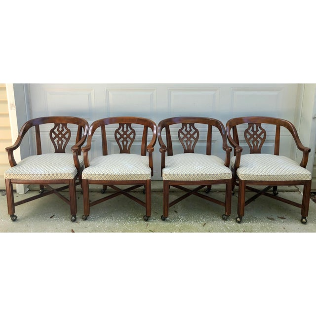 Asian Drexel Heritage Chippendale Horseshoe Dining Chairs on Casters- Set of 4 For Sale - Image 3 of 13