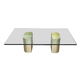 Great Contemporary Brass Veneered ~ Lucite & Glass Top Coffee Table C1970s For Sale