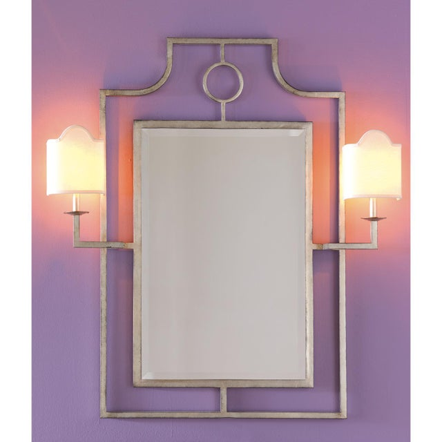 """Traditional Doheny Silver Mirror With Sconces 46""""h For Sale - Image 3 of 3"""