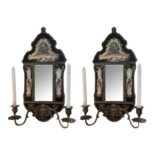 19th Century French Mirrored Wall Sconce With Enameled Porcelain - a Pair For Sale
