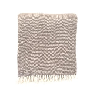 Fringed Taupe Herringbone Throw Blanket For Sale